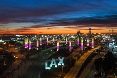 Kobe tribute at LAX during twilight, Los Angeles