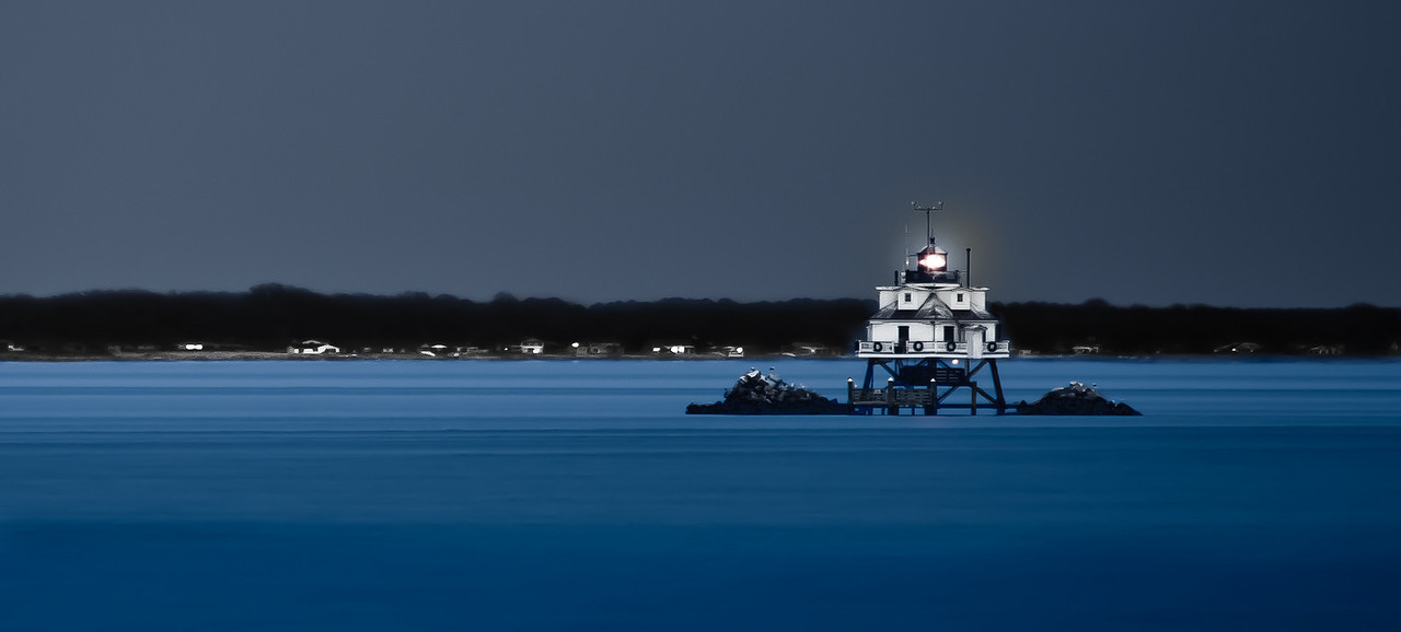 The lighthouse off Thomas Point Shoal, Summer, 2010.<br /> Taken at twilight from the point at Thomas Point Park; a distance of one mile.