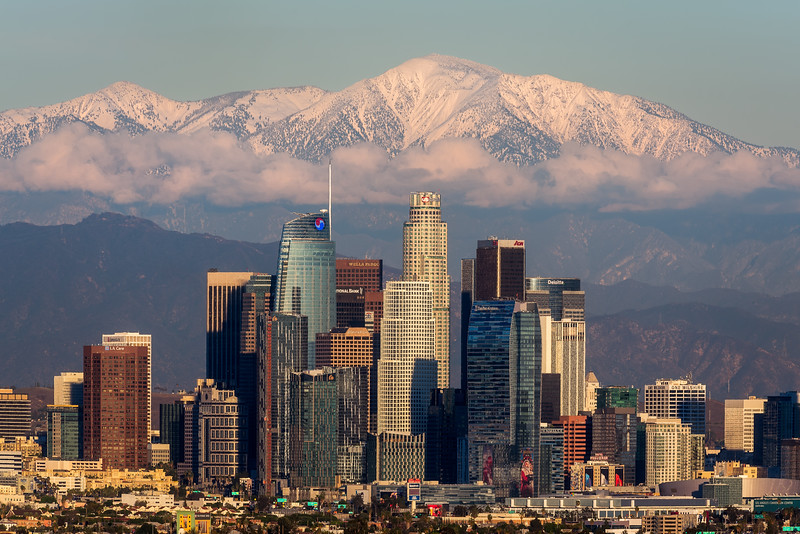 Los Angeles, low clouds, and snow capped Mt. Baldy