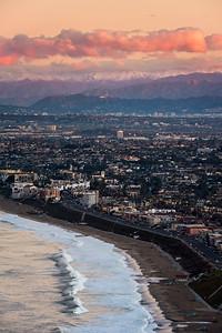 Redondo Beach Esplanade to Hollywood hills at sunrise, Palos Verdes CA