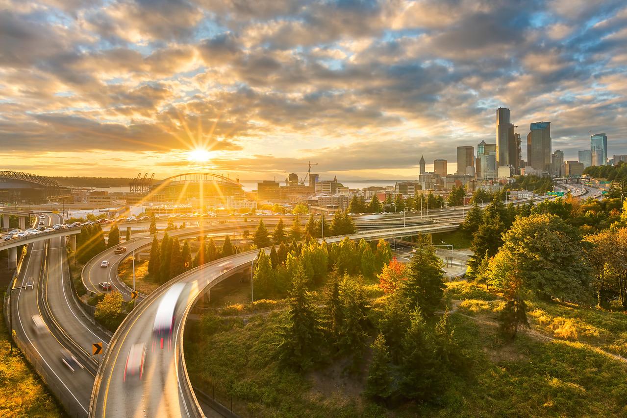 Seattle sunset from Jose Rizal Bridge