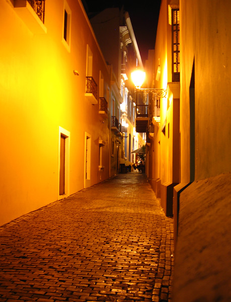San Juan, Puerto Rico.  A late night street.