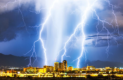 Triple Strike over downtown Tucson, AZ.