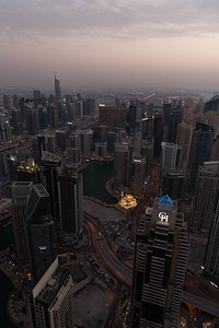 Taken from the roof of the Cayan Tower over looking Dubai Marina and Grosvenor House Hotel
