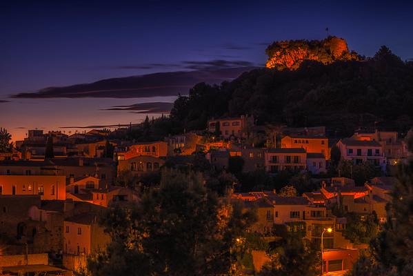 Sunset over Begur, Spain.