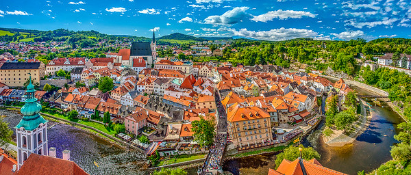 Cesky Krumlov, Czech Republic, looking south.