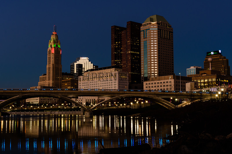 Columbus Ohio From The Banks Of The Olentangy River
