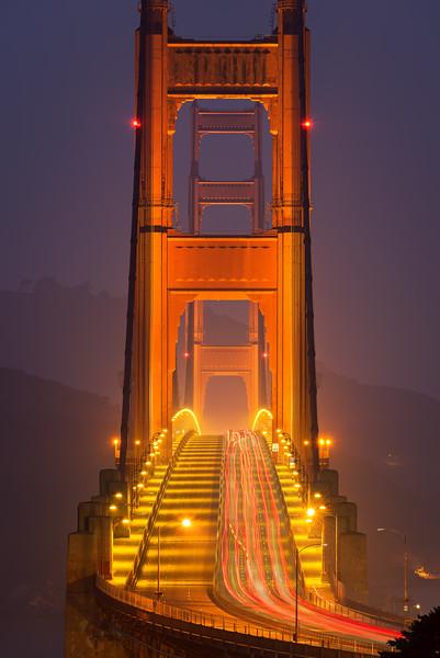 Golden Gate Bridge in the fog, San Francisco CA