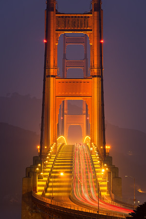 Golden Gate Bridge in the fog, San Francisco CA