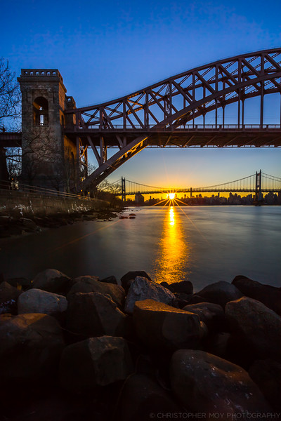 Hellgate and Triboro bridges during sunset