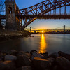 Hellgate and Triboro bridges during sunset