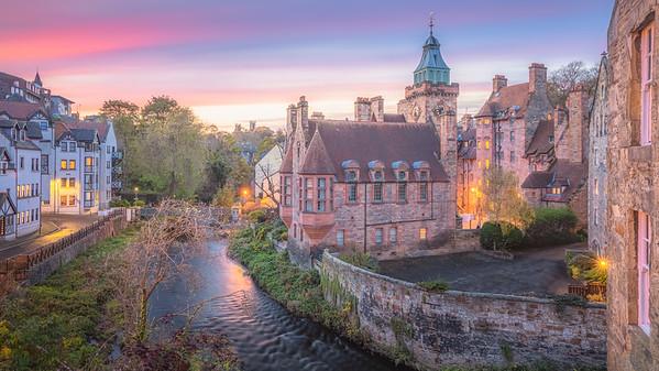 Sunset at Dean Village. Edinburgh, Scotland