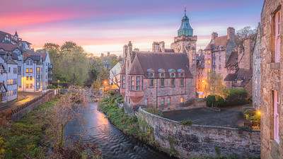 Sunset at Dean Village. Edinburgh, Scotland