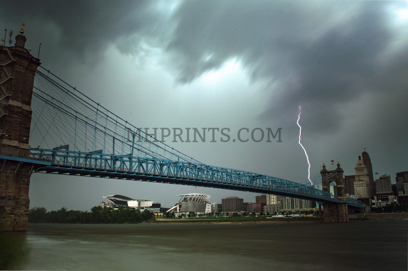 Cincinnati Roebling Bridge During Storm