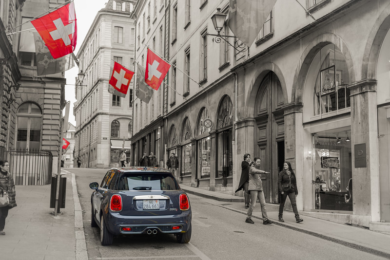 Swiss Flags and a Mini Cooper