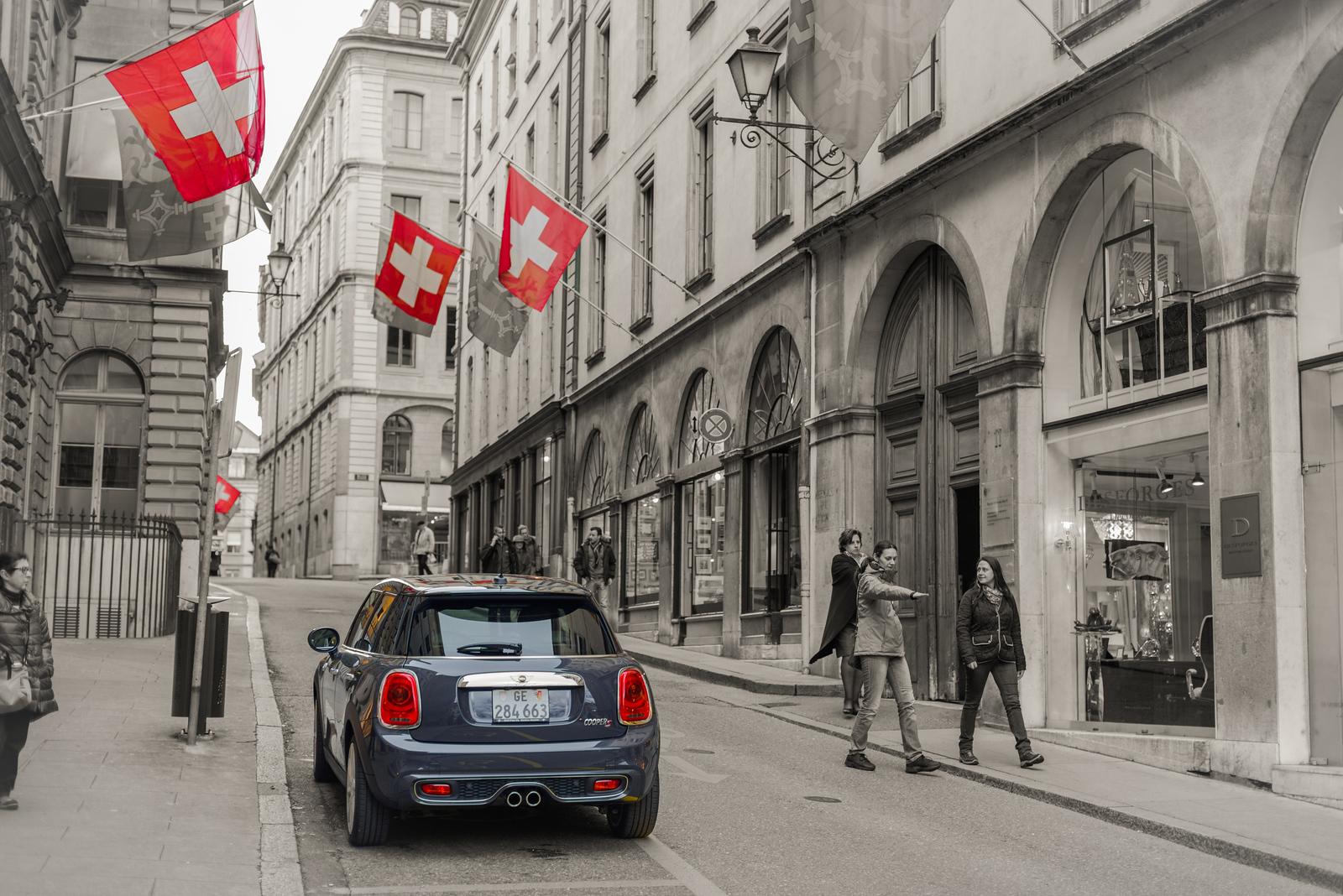 Swiss Flags and a Mini Cooper