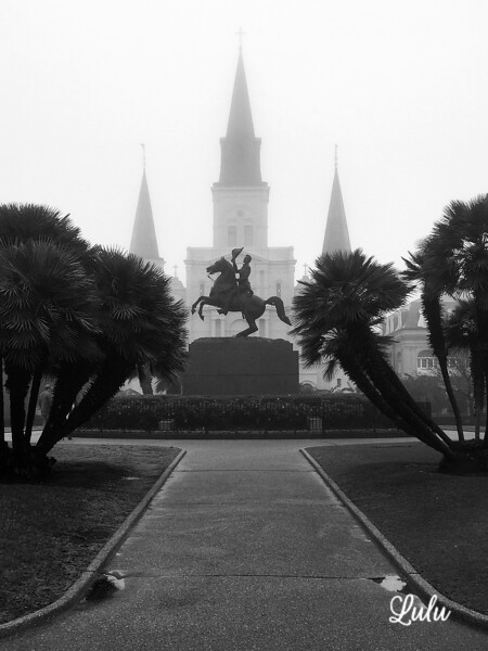 Jackson Square in the fog, New Orleans