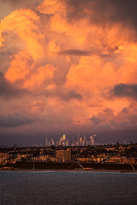 Cumulus storm clouds over Los Angeles at sunset, Palos Verdes CA