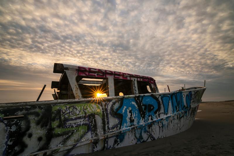 Sunburst sunset shipwreck, Playa Del Rey