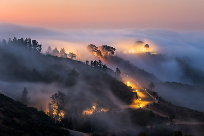Fog flow, Griffith Observatory sunrise in Los Angeles