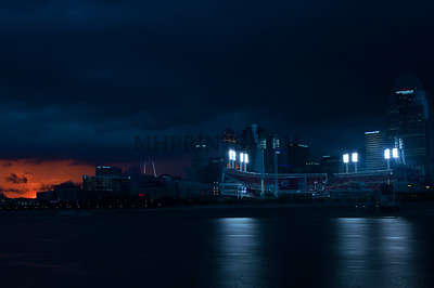 Cincinnati Stormy Skyline At Sunset