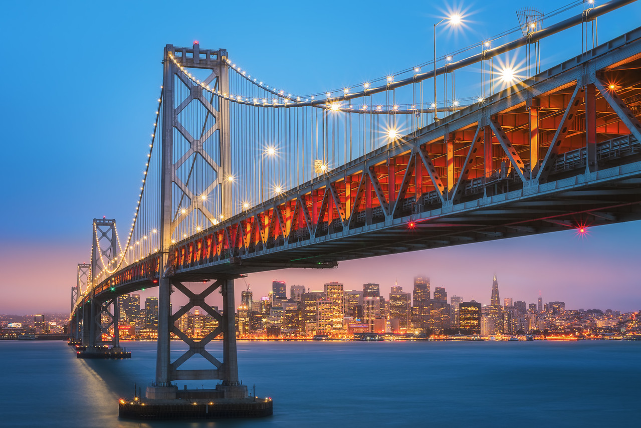 San Francisco skyline under the Bay Bridge