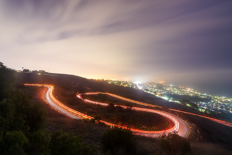 Palos Verdes drive light trails with ambulance