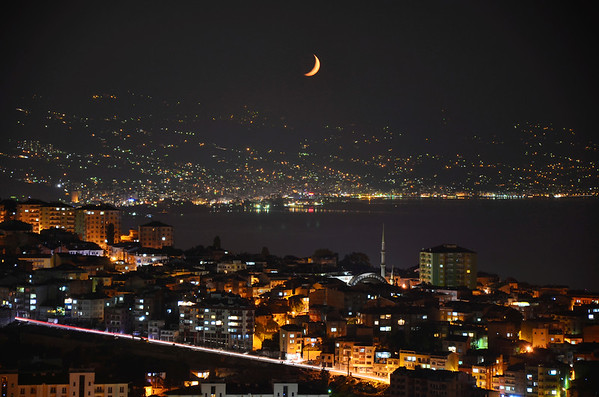 Moonrise over the Black Sea, Trabzon, Turkey