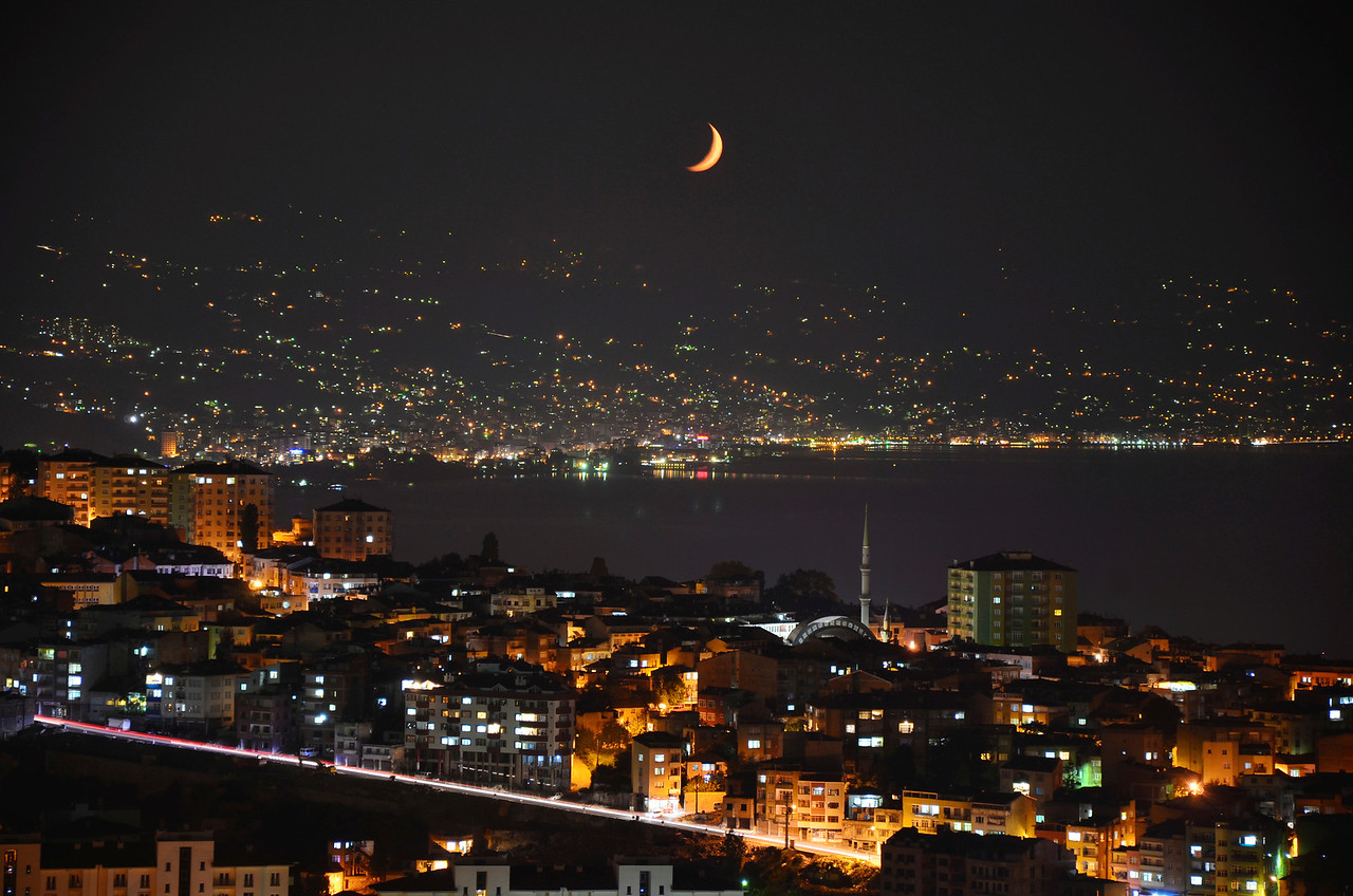 Moonrise over the Black Sea, Trabzon, Turkey
