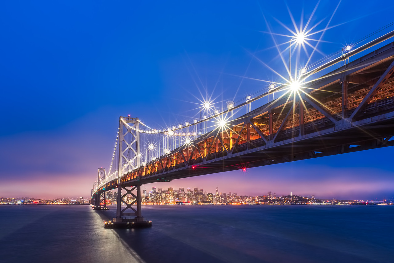 San Francisco bay bridge twilight