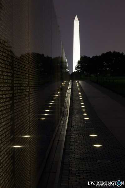 Washington Monument as Seen from Vietnam Veterans Memorial at Night