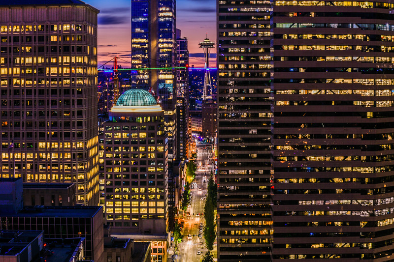 Downtown Seattle and Space Needle at Sunset