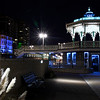 The newly renovated bandstand stands out gloriously against the back drop of the night sky and Grand Hotel