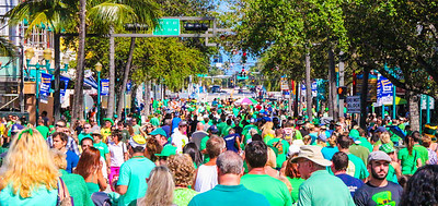 This shot was taken in the Middle of Atlantic Avenue looking East towards the Intracoastal Waterway Bridge. The same seen visible looking west, showing Tens of Thousands of Visitors to this years St. Patrick's Day Parade, this being the 46th Annual Celebration. An estimated 100,000+ attended this year's event, the largest crowd since we've been covering this event.