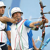 Olympics+Day+3+Archery+Ilario Di Buo (R) of Italy takes aim as teammate Mauro Nespoli looks on during the men's archery team round at the Olympic Green Archery Field on Day 3