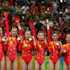 Olympics+Day+5+Artistic+Gymnastics+The Chinese women's gymnastics team celebrates after winning the artistic gymnastics team event at the National Indoor Stadium