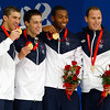 Olympics+Day+3+Swimming+Michael Phelps, Garrett Weber-Gale, Cullen Jones, Jason Lezak of the United States pose with the gold medal during the medal ceremony for the Men's 4 x 100m Freestyle Relay b