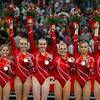 Olympics+Day+5+Artistic+Gymnastics+Shawn Johnson, Nastia Liukin, Chellsie Memmel, Samantha Peszek, Alicia Sacramone and Bridget Sloan of the United States women's gymnastics team celebrates after receiving the silver medal