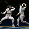 Olympics+Day+3+Fencing+Katja Waechter (L) of Germany competes with Giovanna Trillini of Italy in the women's individual foil at the Fencing Hall on Day 3 of the Beijing 2008 Olympic Games