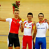 Olympics+Day+8+Cycling+Track+Silver medalist Roger Kluge of Germany, gold medalist Juan Llaneras of Spain and bronze medalist Chris Newton of Great Britain pose with their medals after finishing the Men's Points Race