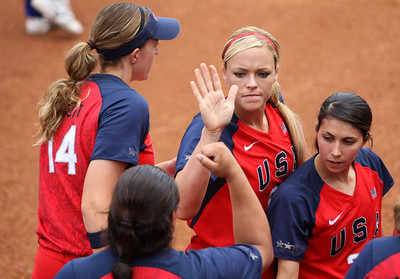 Olympics+Day+8+Softball+Jennie Finch of the United States celebrates with her team after defeating Chinese Taipei during their softball game at Fengtai Softball Field on Day 8 of the Beijing 2008 Olympic Games