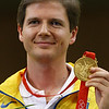 Olympics+Day+8+Shooting+Oleksandr Petriv of Ukraine receives the gold medal in the Men's 25m Rapid Fire Pistol Final at the Beijing Shooting Range Hall on Day 8 of the Beijing 2008 Olympic Games