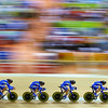 Olympics+Day+9+Cycling+Track+Volodymyr Rybin, Lyubomyr Polatayko, Maksym Polishchuk and Vitaliy Shchedov of Ukraine compete during qualifying for the men's team pursuit track cycling event held at the Laoshan Velodrome