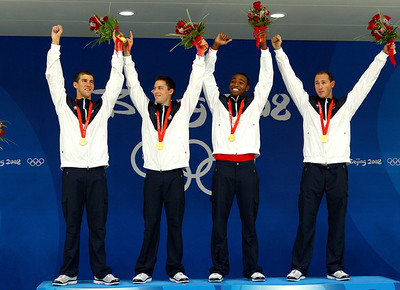 Olympics+Day+3+Swimming+Michael Phelps, Garrett Weber-Gale, Cullen Jones, Jason Lezak of the United States pose with the gold medal during the medal ceremony for the Men's 4 x 100m Freestyle Relay
