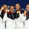 Olympics+Day+9+Swimming+Michael Phelps, Brendan Hansen, Jason Lezak and Aaron Piersol of the United States hold up their gold medals from the Men's 4x100 Medley Relay