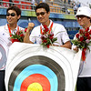 Olympics+Day+3+Archery+Im Dong-Hyun, Park Kyung-Mo and Lee Chang-Hwan of South Korea hold up their target after winning the gold medal in the men's archery team round at the Olympic Green Archery Field
