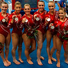 Olympics+Day+5+Artistic+Gymnastics+Shawn Johnson, Nastia Liukin, Chellsie Memmel, Samantha Peszek, Alicia Sacramone and Bridget Sloan of the United States women's gymnastics team celebrates after receiving silver medal