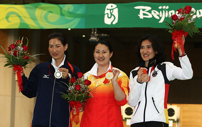 Olympics+Day+5+Shooting+Silver medalist Gundegmaa Otryad of Mongolia, gold medalist Chen Ying of China and bronze medalist Munkhbayar Dorjsuren of Germany, Women's 25m Pistol shooting at the Shooting Range