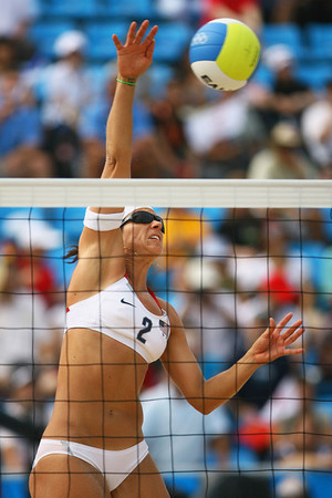 Olympics+Day+4+Beach+Volleyball+Misty May-Treanor of the USA shoots against Tamara Larrea and Dalixia Fernandez of Cuba in the Women's Preliminary Pool B match