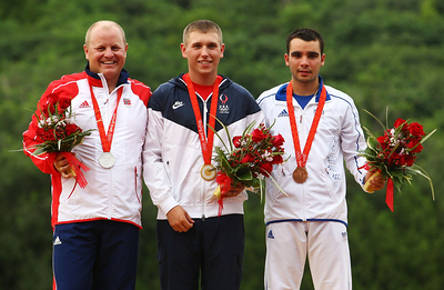 Olympics+Day+8+Shooting+Tore Brovold of Norway who won the silver medal, Vincent Hancock of the United States who won the gold medal and Anthony Terras of France who won the bronze medal in the final of the men's skeet shooting
